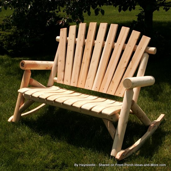 Wooden Adirondack rocking bench from Hayneedle