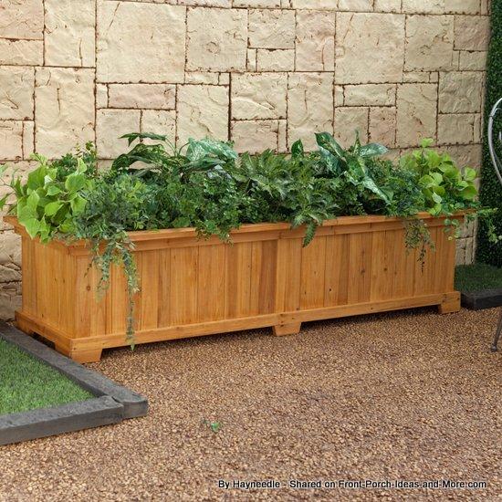 Rectangular cedar patio planter box