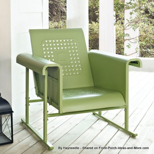 Retro green glider chair from Hayneedle