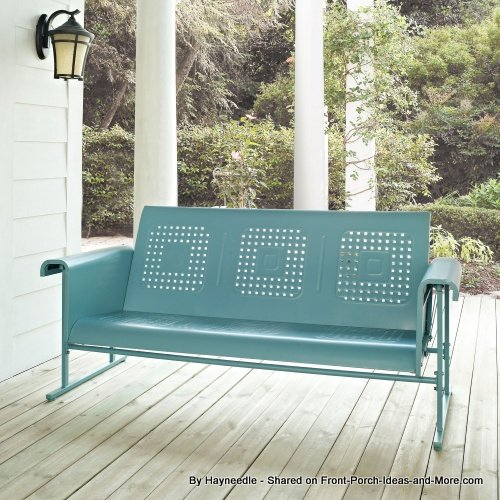 Blue vintage metal sofa glider from Hayneedle