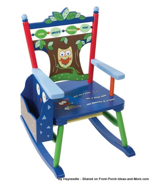 Colorful owl-inspired kids rocking chair by Hayneedle