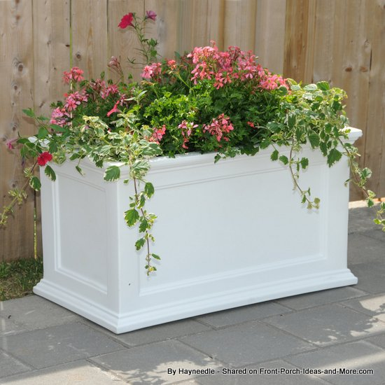 large white rectangular planter perfect for larger plantings - filled with pretty flowers
