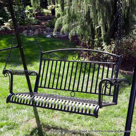 A metal porch swing is for marking memories on your porch for Garden jhoola designs