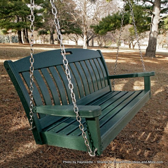polywood porch swing is made from recycled materials