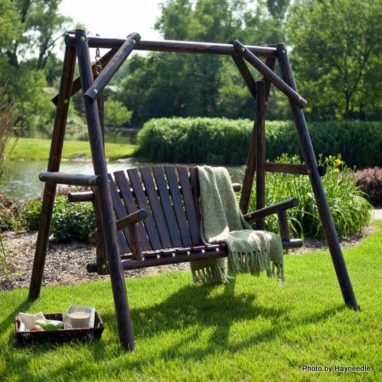 Self-standing wood porch swing