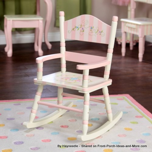 Pink and white striped wooden rocking chair for girls - by Hayneedle