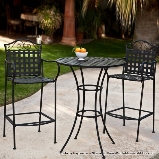 Wrought iron framed Bistro Set - bar height