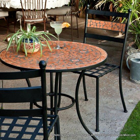 Terra Cotta Mosaic Bistro Set - iron frame