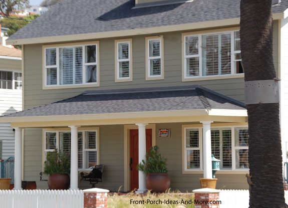 Porch Roof Designs on Flat Roof Front Porch Railings
