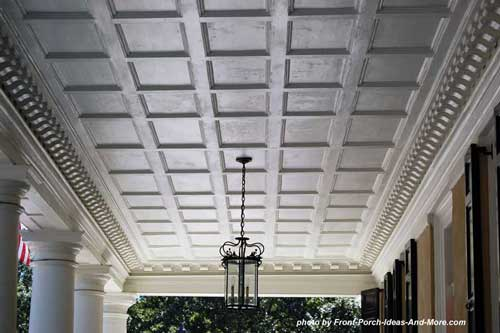 coffered ceiling on front porch
