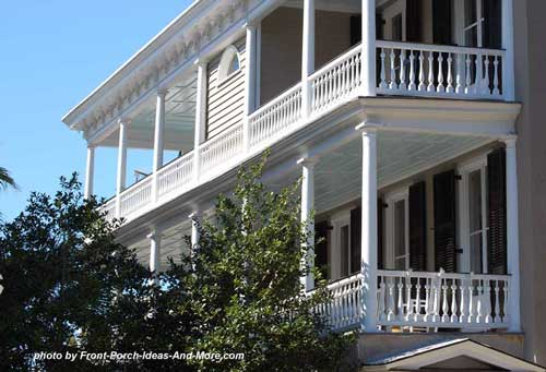 stacked side porches in Historic Charleston SC