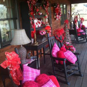 porch decorated in red for Valentines Day