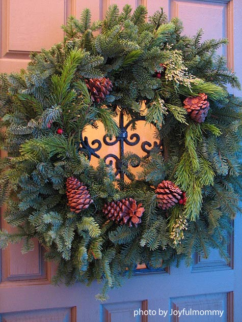 hand-made evergreen holiday wreath