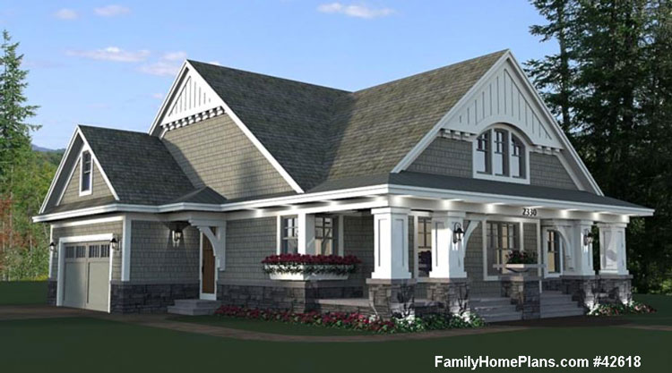 House and porch plan from Family Home Plans #42618