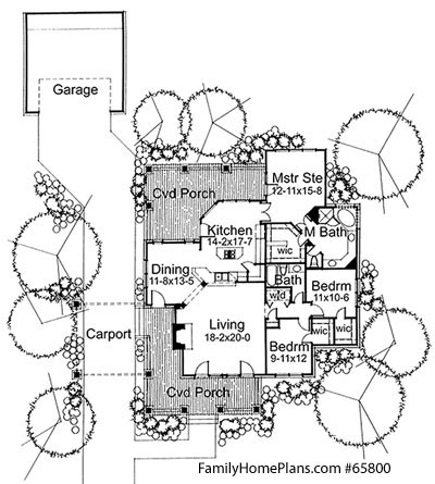 craftsman bungalow home and porch plan from Family Home Plans 65800
