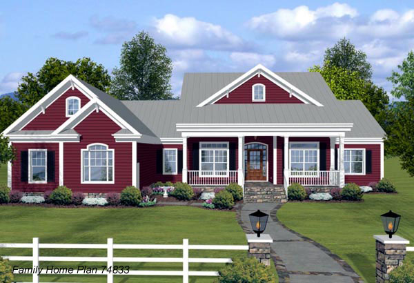ranch home plan with nice front porch