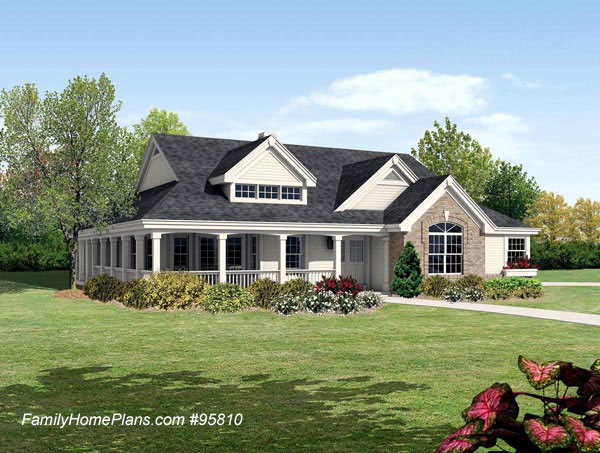 ranch home with wrap around front porch from Family Home Plans