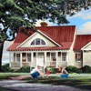 home plan with front porch landscaped yard