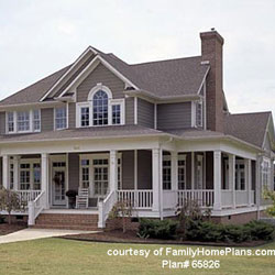 Large country style home plan with wrap around porch by Family Home Plans