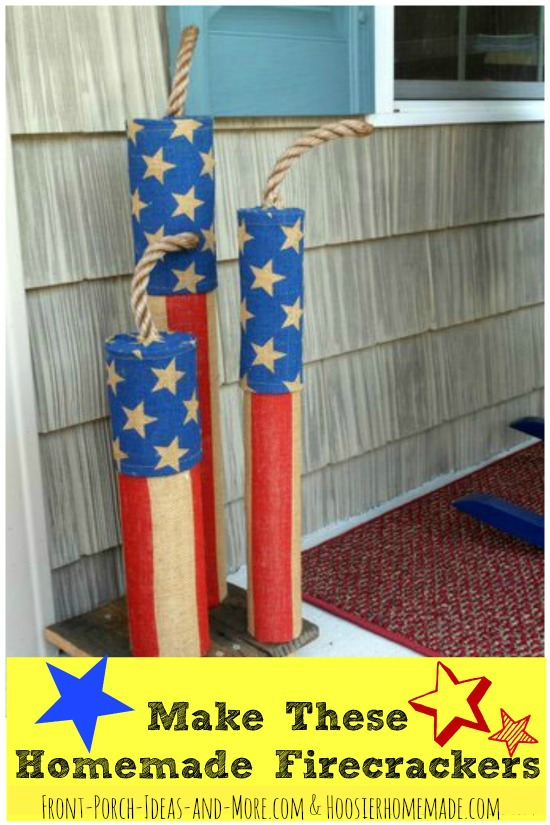 Make these Americana style 4th of July homemade firecracker decorations