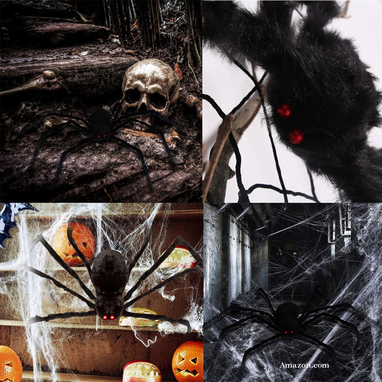 hairy halloween spider in four different scenes