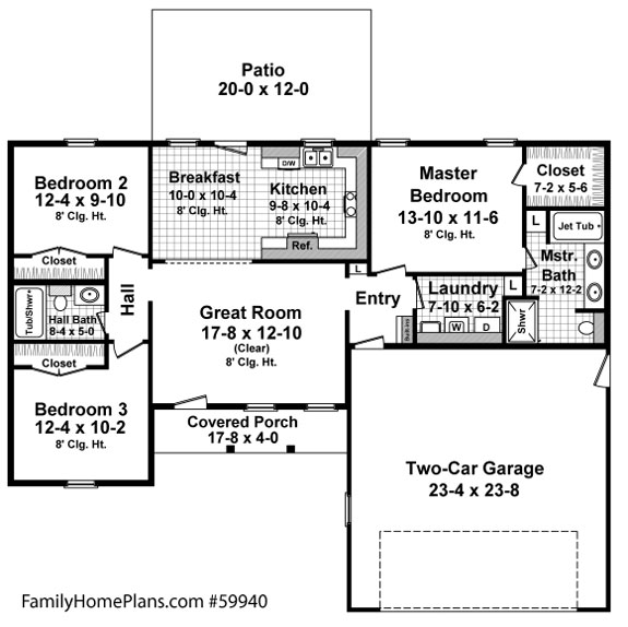 ranch home floor plan from  59940 familyhomeplans.com