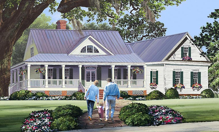 wrap around porch country home plan