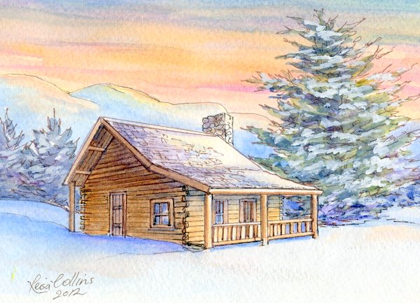 Beautiful custom house portrait painting of a log cabin in the snow - learn how you might have one of your home or for a wonderful gift.