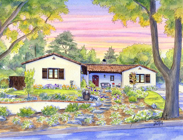 ranch style house portrait painting - watercolor by Leisa Collins