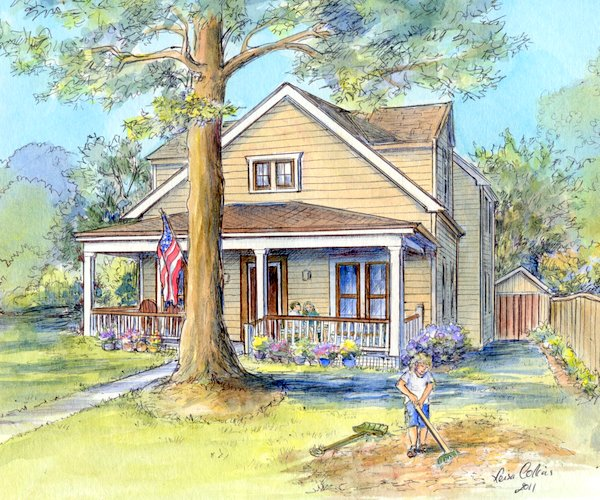 original watercolor of home by leisa collins