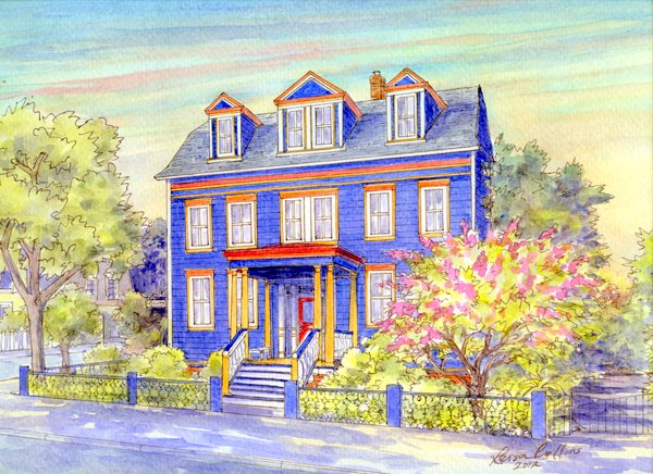 Beautiful custom house portrait painting of a gorgeous home - learn how you might have one of your home or for a wonderful gift.