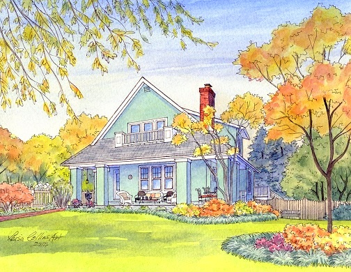 Craftsman style house portrait painting - watercolor by Leisa Collins