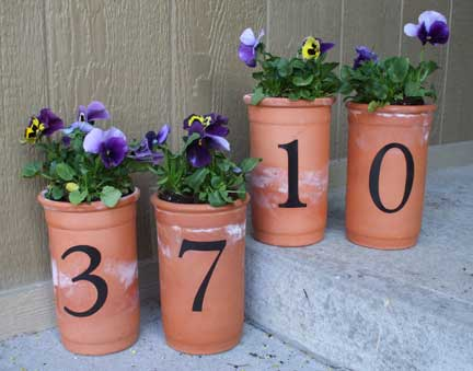 numbered pots for your porch