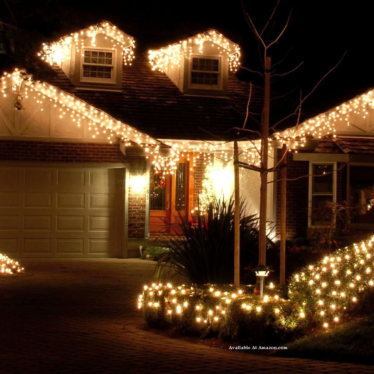 icicile lights on home and porch
