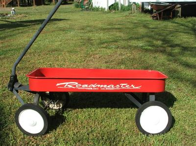 Beth's Iconic Americana - roadmaster red wagon that she hand painted