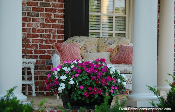 colorful impatient plant on front porch