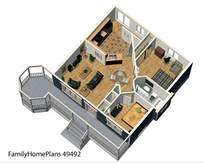 interior view of a bungalow home and veranda porch plan from Family Home Plans 49492