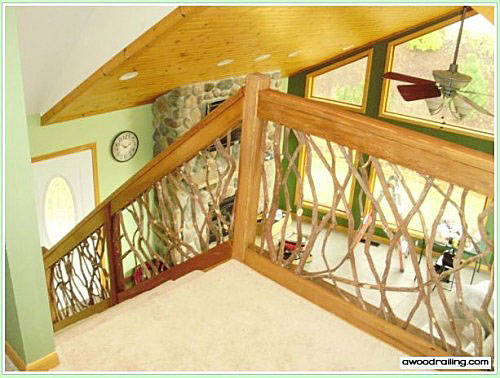 interior stair railing using mountain laurel wood