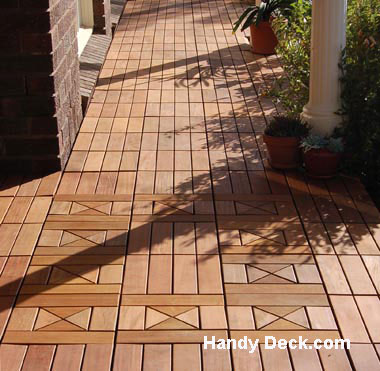 Interlocking deck tiles on front porch from Handy Deck