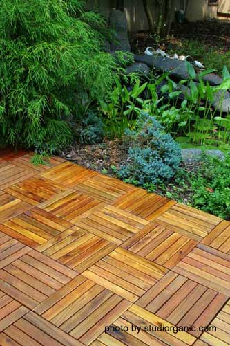 interlocking deck tiles in herringbone pattern