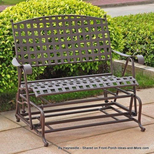 Antique bronze wrought iron double patio glider from Hayneedle
