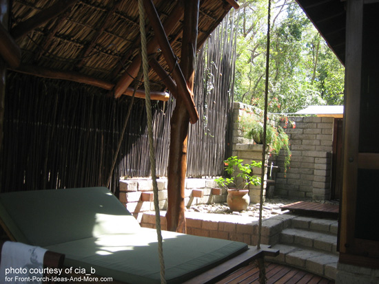 a most inviting swing bed in relaxing setting