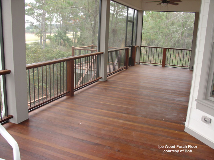Wood porch flooring tongue and groove decking for Covered porch flooring options