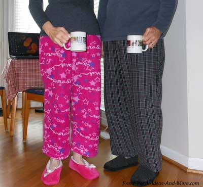 mary and dave in jammies