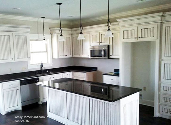white kitchen built from floor plan 59936 by Family Home Plans