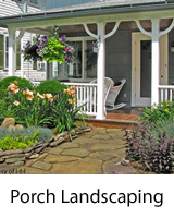 spring landscaping in front of porch