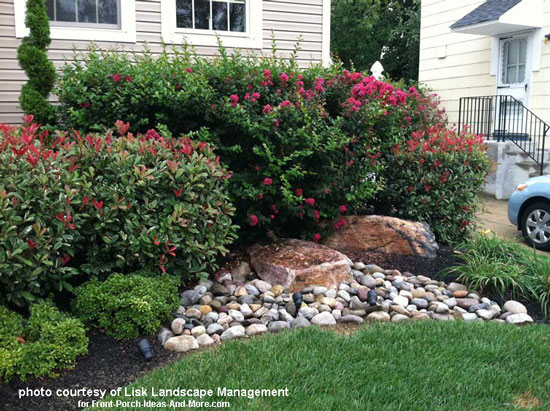 Front yard landscape designs with before and after pictures for How to plant bushes in front of house