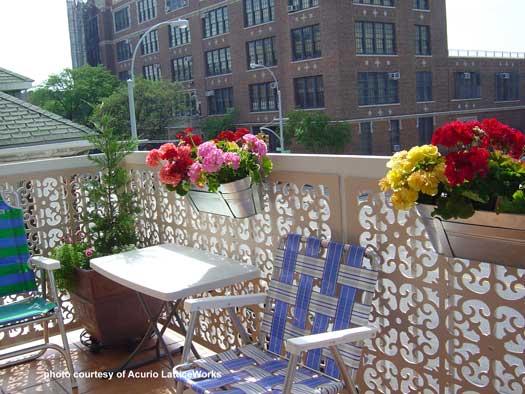 lattice deck railings on balcony