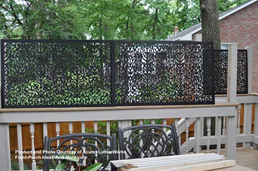 black lattice privacy screen on back deck