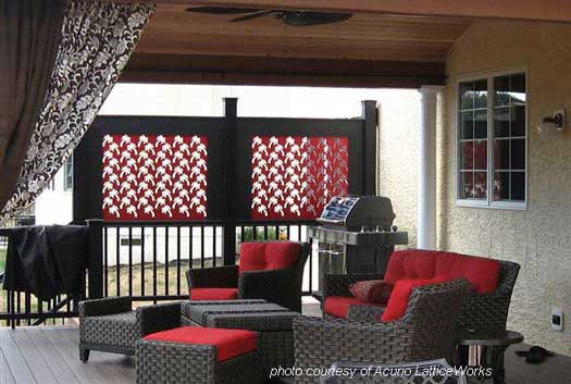 red lattice privacy screen on front porch
